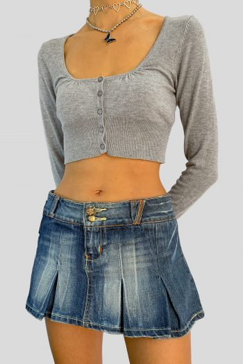 Cyber Vintage Y2K Denim Pleated Mini Skirt – S blue skirt