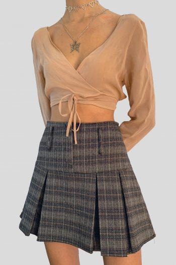 Bustiers & Crops Vintage Y2K Nude Sheer Wrap Crop Top – S ballerina top