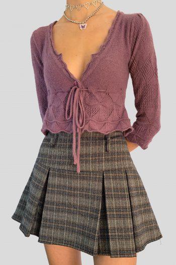 Boho Vintage Y2K Purple Cropped Cardigan – XS cardigans