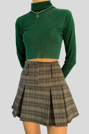 Cyber Vintage Y2K Brown Tartan Pleated Mini Skirt – S 90s skirt