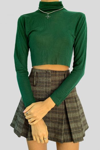 Bustiers & Crops Vintage 90's Green Turtleneck Crop Sweater – S 90s sweater