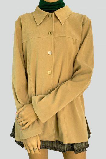 Boho Vintage 90's Beige Faux Suede Jacket – XL 90s coat
