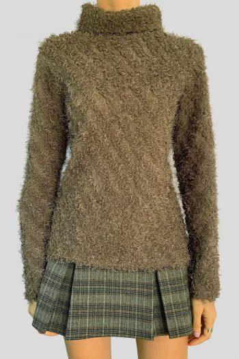 Boho Vintage 90's Fluffy Turtleneck Sweater – M 90s sweater