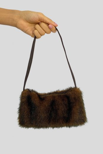 Bags Vintage Y2K Brown Faux Fur Mini Bag brown bag