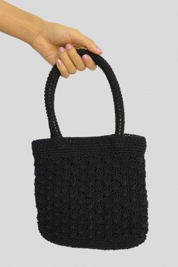 Bags Vintage 90's Black Crochet Top Handle Bag 90s bag