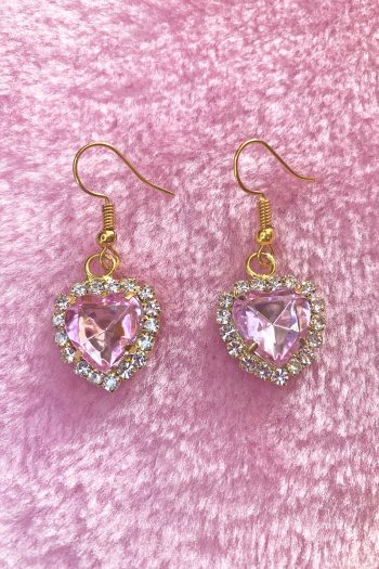 Festival Pink Heart Rhinestone Earrings drop earrings