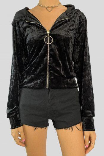 Goth Vintage Y2K Black Velvet Hoodie – M black hoodie