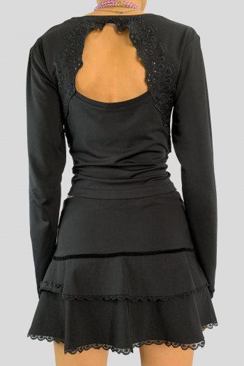 Goth Vintage Y2K Black Cut Out Top – S black top