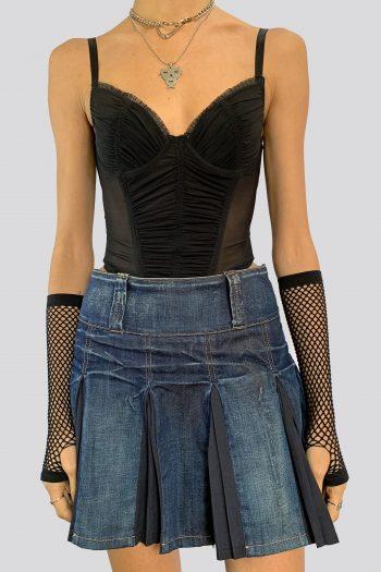 Cyber Vintage Y2K Denim Flare Mini Skirt – M blue skirt