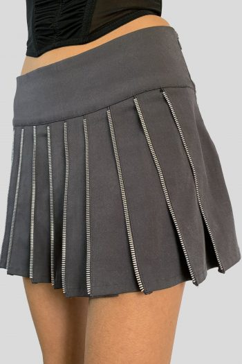 Cyber Vintage Y2K Zip Pleated Mini Skirt – S mini skirt