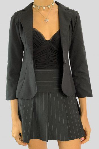 Boho Vintage 90's Black Blazer Jacket – XXS 90s jacket