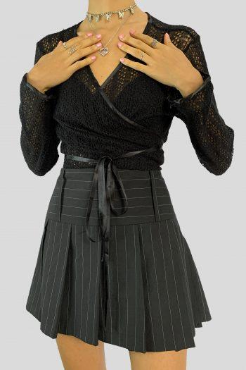 Cyber Vintage Y2K Pinstripe Pleated Mini Skirt – XS mini skirt