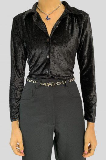 Goth Vintage 90's Black Velvet Shirt – S 90s blouse