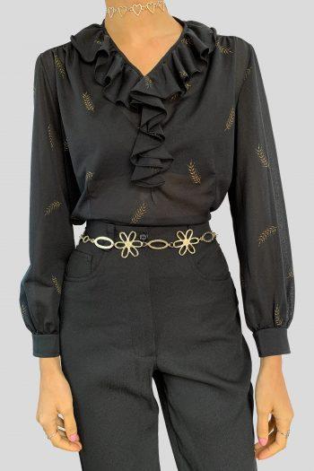 Boho Vintage 90's Black Sheer Ruffle Blouse – M/L 90s blouse