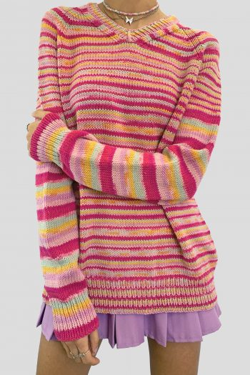 Kawaii Vintage Y2K Rainbow Striped Sweater – XL knitted sweater