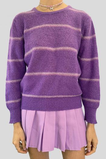 Grunge Vintage 90's Purple Striped Sweater – S 90s sweater