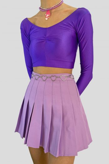 Bustiers & Crops Vintage Y2K Purple Shiny Lycra Crop Top – XXS crop top