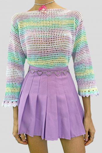 Festival Vintage 90's Rainbow Crochet Sweater – S/M 90s sweater