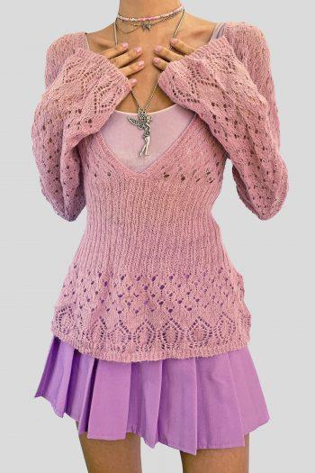 Grunge Vintage Y2K Dusty Pink Sweater – L 90s sweater
