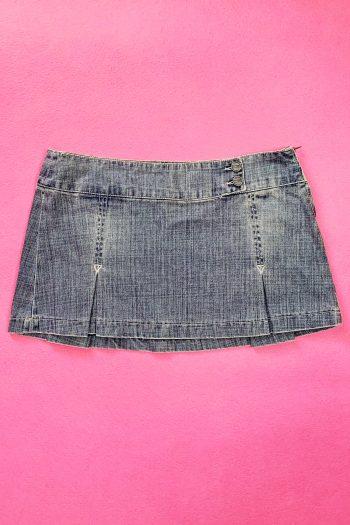 Cyber Vintage Y2K Acid Wash Pleated Skirt – M 90s skirt