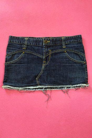 Cyber Vintage Y2K Dark Denim Mini Skirt – S/M blue skirt
