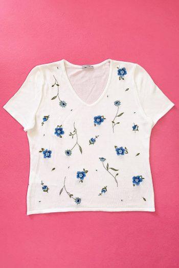 Boho Vintage 90's White Floral Knit Top – L 90s top