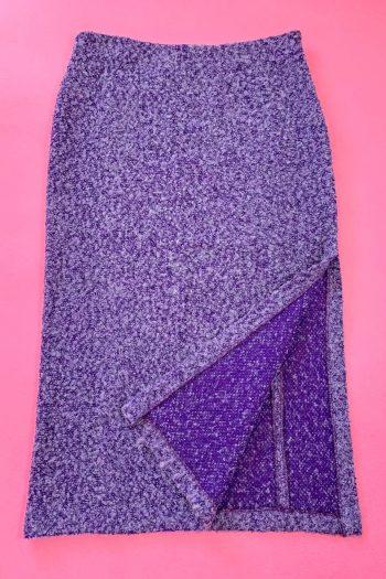 Boho Vintage Y2K Purple Knit Pencil Skirt – XL 90s skirt
