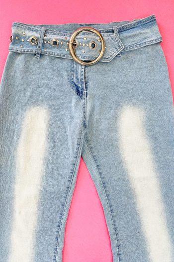 Cyber Vintage Y2K Belted Flare Jeans – M 90s pants