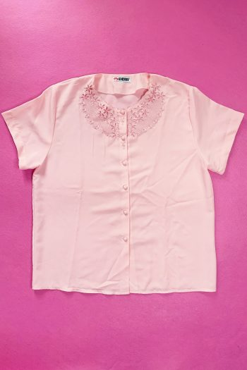 Pastel Vintage 90's Pink Lace Blouse – XXL 90s blouse