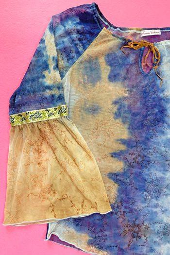 Boho Vintage Y2K Sheer Tie Front Blouse – XL floral blouse