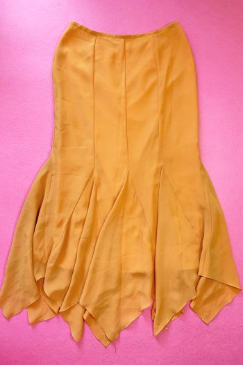 Boho Vintage 90's Orange Flare Maxi Skirt – M/L 90s skirt