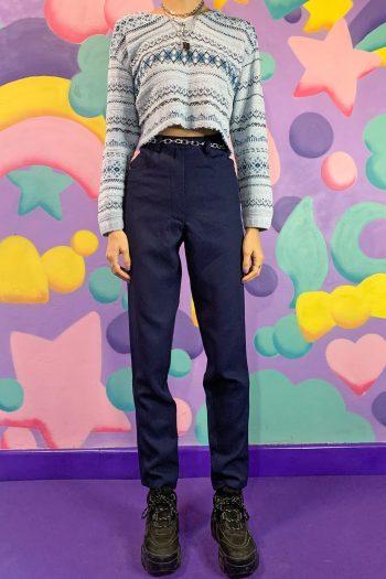 Boho Vintage 90's Navy Blue Mom Pants – XS/S 90s pants