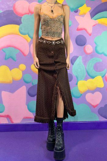 Boho Vintage 90's Brown Knitted Maxi Skirt – S 90s skirt