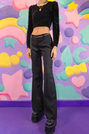 Cyber Vintage Y2K Pinstripe Flare Pants – S flare pants