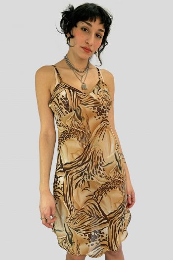 Cyber Vintage Y2K Animal Print Sheer Nightie – M animal print