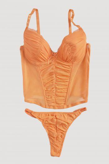 Cyber Vintage Y2K Orange Lingerie Set – XS lingerie set