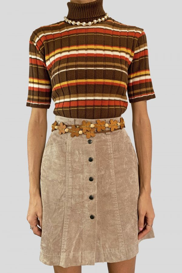 Boho Vintage Y2K Faux Suede Mini Skirt – S buttoned skirt