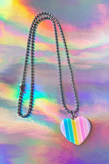 Festival Rainbow Heart Ball Chain Necklace necklace