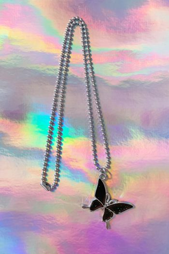 Cyber Butterfly Mood Changer Necklace 90s necklace