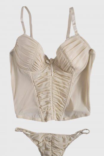 Lingerie & Nightwear Vintage Y2K Beige Lingerie Set – S lingerie set