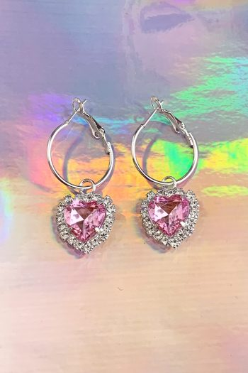 Festival Pink Heart Rhinestone Hoop Earrings earrings