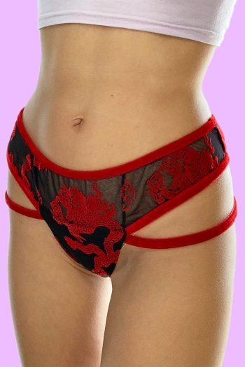 Cyber Vintage Y2K Dragon Sheer Mesh Thong sheer panties