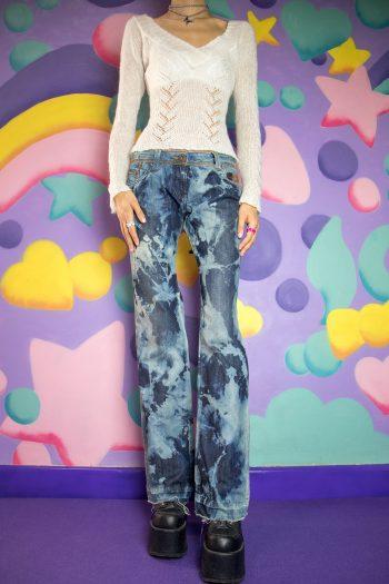Cyber Vintage Y2K Light Tie Dye Jeans – M denim pants