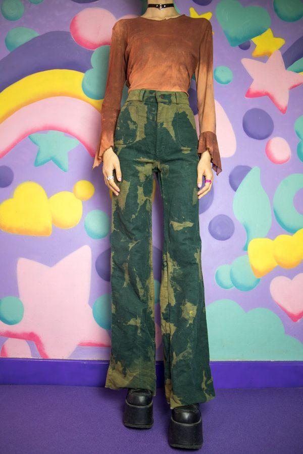 Festival Vintage 90's Green Tie Dye Pants – XS 90s pants