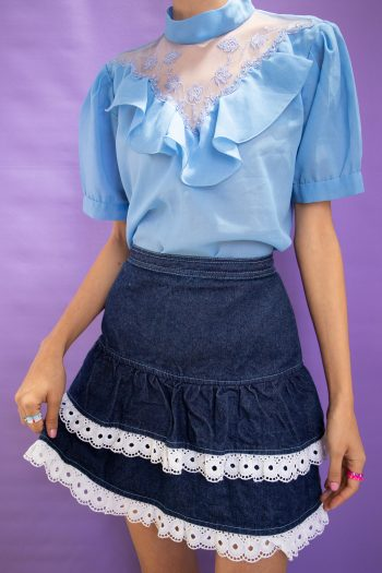 Kawaii ♡ Pastel Vintage 90's Denim Ruffle Mini Skirt – XS 90s skirt