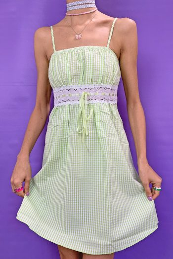 Dresses Vintage 90's Green Plaid Mini Dress 90s dress