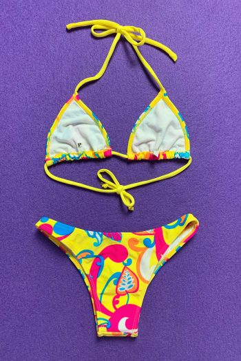 Cyber Vintage 90's Yellow Abstract Brazilian Bikini – XS bikini