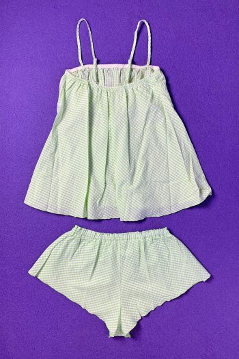 Kawaii ♡ Pastel Vintage 90's Green Gingham Top & Shorts Set 90s set