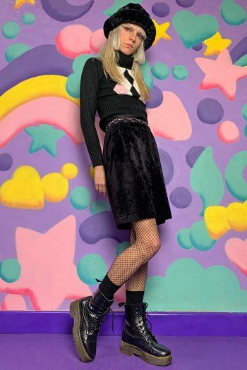 Goth ♡ Grunge Vintage 90's Black Velvet Mini Skirt – S/M 90s skirt