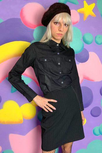 Goth ♡ Grunge Vintage Y2K Black Sparkly Shirt – M Size M